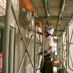 外壁タイル貼付状況・・・その密着工法・施工手順!