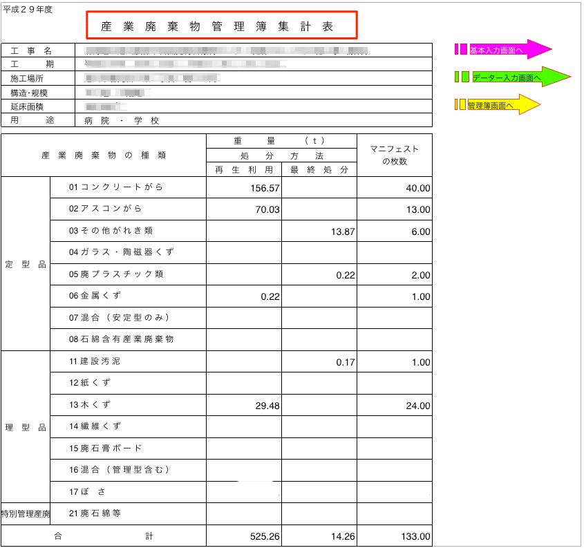 管理簿集計表